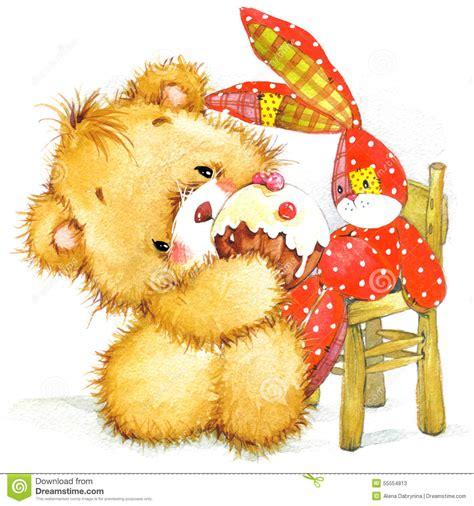 cute toy bear  toy bunny illustration stock