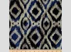 Indian Batik Flannel Ikat Navy Discount Designer Fabric