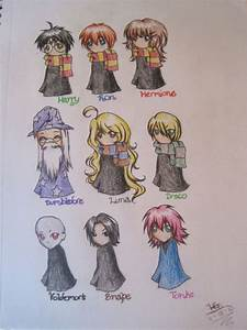 A few Harry Potter characters drawn in chibi style, as ...