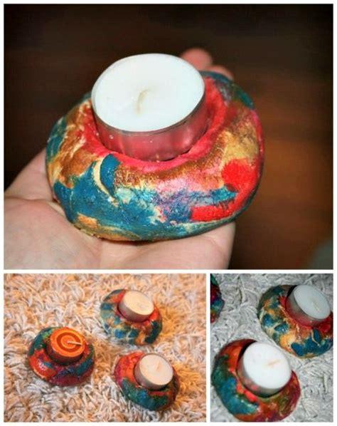 teelichter basteln mit kindern salzteig teelichter miniheld basteln kinder candles