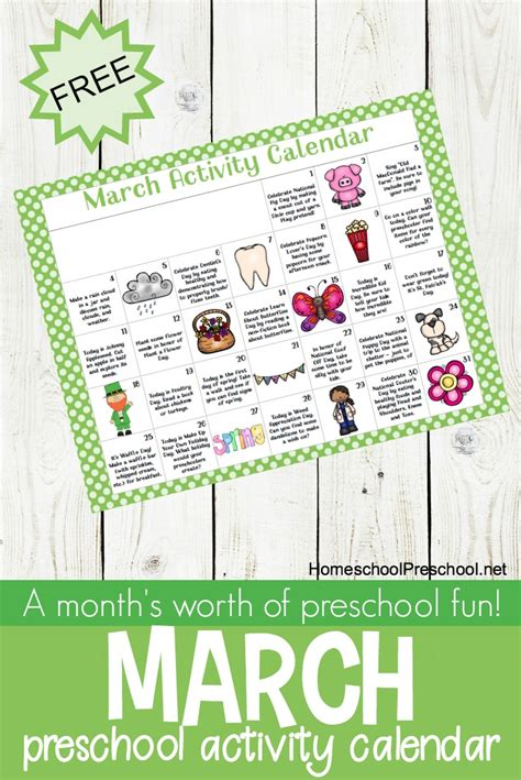 free printable march activity calendar for preschoolers 245 | preschool activity calendar preschool