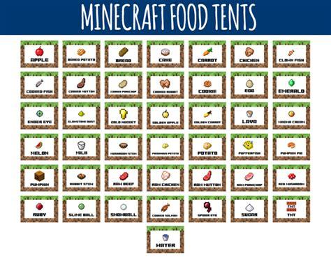 minecraft cuisine minecraft food labels minecraft food tents birthday