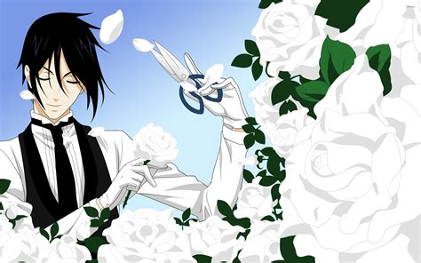 Anime Wallpaper Black Butler - black butler trimming the white roses wallpaper anime