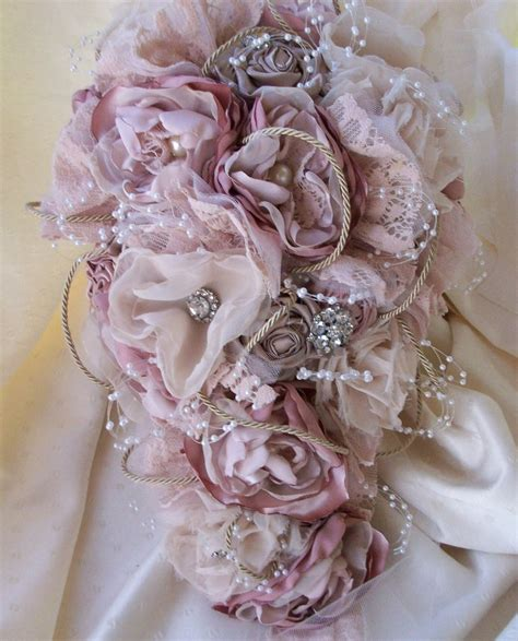 shabby chic bridal bouquet vintage inspired shabby chic fabric wedding bouquet bridal bouquet with pearls we know how to