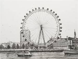 The London Eye Drawing by Vincent Alexander Booth