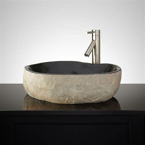 Rushal Black River Stone Vessel Sink  New Bathroom Sinks