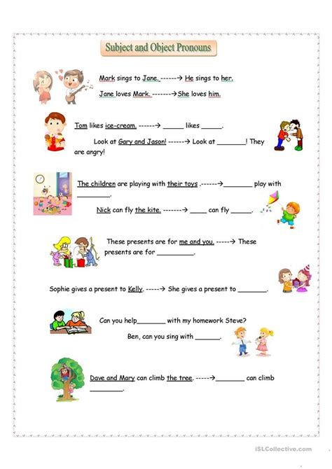 subject and object pronouns english esl worksheets