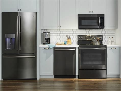black kitchen cabinets with stainless steel appliances ge kitchen black stainless steel appliances at best buy 9767