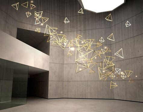 sculptural light installation  public areas interiorzine