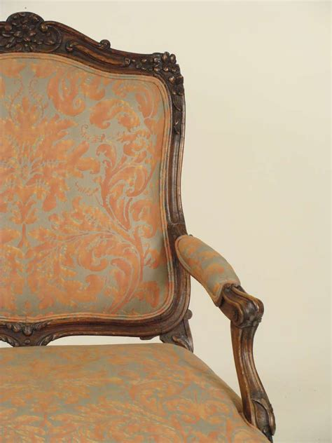 louis xv style fauteuil with fortuny upholstery at 1stdibs