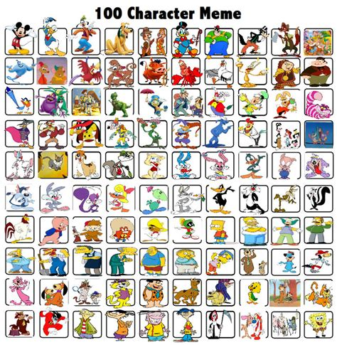 Meme Characters - 100 characters meme by bart toons on deviantart
