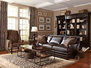 Living Room: Cantor Leather Sofa by Bernhardt ...