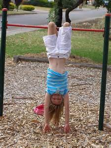 Girl Upside Down Park