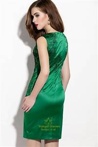 Emerald Green Embroidered Sleeveless Sheath Cocktail Dress ...