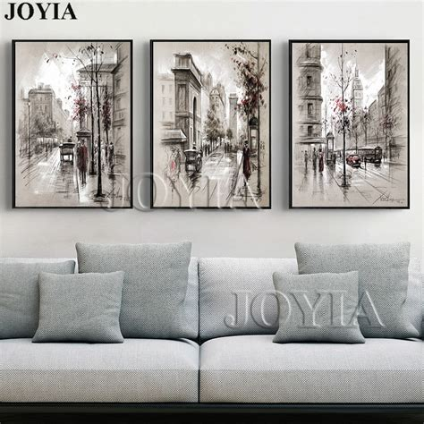 home decor canvas wall art vintage city street landscape