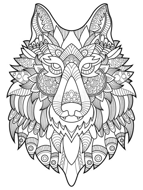 wolf coloring book  adults vector illustration stock
