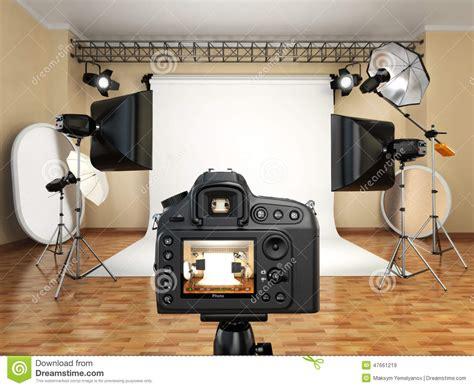 cuisine equip馥 studio dslr in photo studio with lighting equipment softbox and stock illustration image 47661219