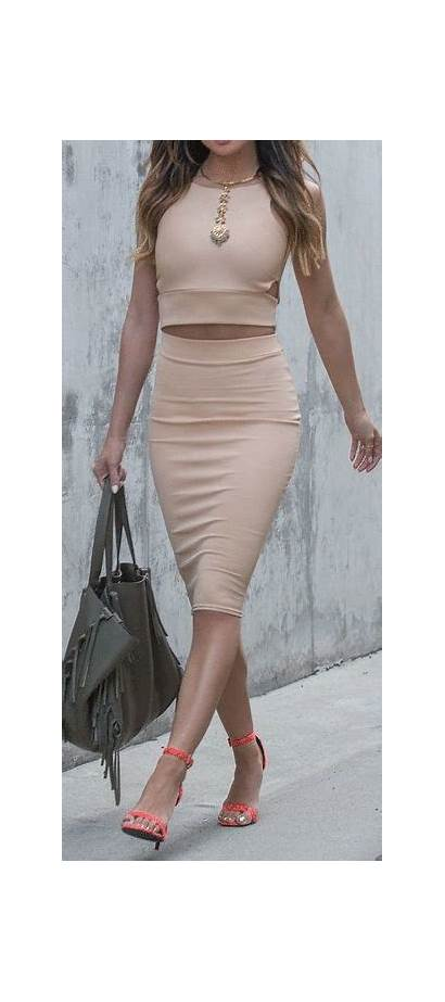 Skirt Outfits Nude Casual Spring Dresses Midi