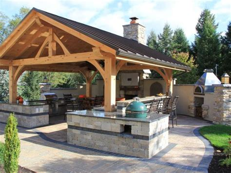 rustic covered outdoor kitchen  bar hgtv