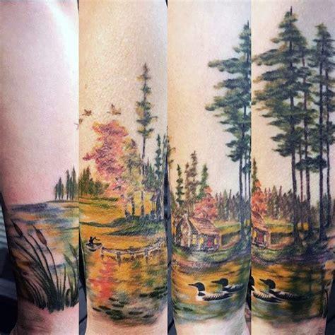 landscape tattoos  men scenic design ideas