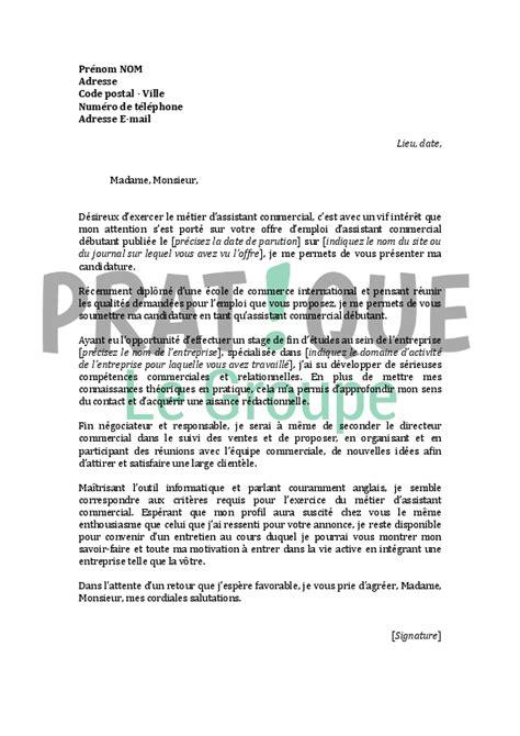lettre de motivation de cuisine lettre de motivation pour un emploi d 39 assistant commercial
