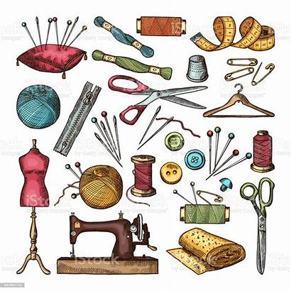 Sewing Tools Needlework Colored Different Drawing Cartoon