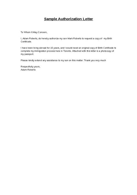 sample authorization letter  nso birth certificate