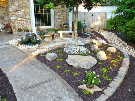 front yard water feature  outdoor makeover traditional