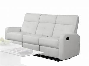 Monarch Specialties Reclining Sofa White Bonded Leather