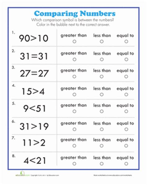 number comparison number worksheets worksheets and number