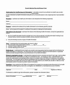Authorization For Release Medical Records Template