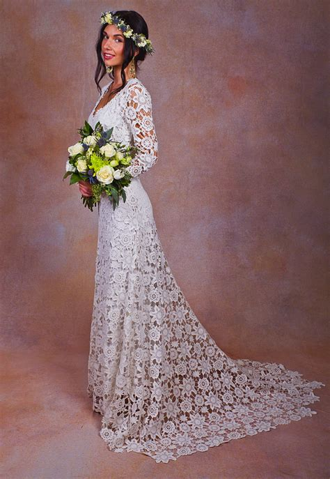 Brigette Crochet Lace Wedding Dress Dreamers And Lovers