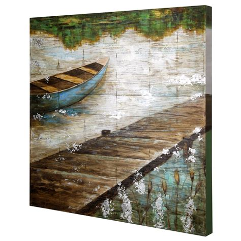 Wall cladding panels interior use from bamboo slat for your home decor. Wood Slat Lake Scene Wall Art