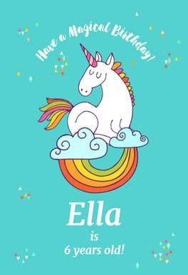 colourful unicorn birthday card  island