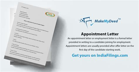 appointment letter format indiafilings learning centre
