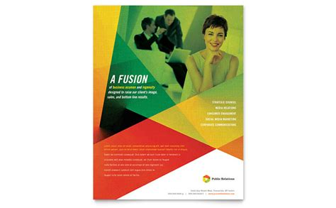 public relations company flyer template design