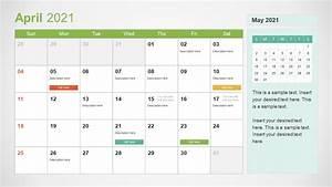 2021 Calendar Template April Powerpoint Slidemodel
