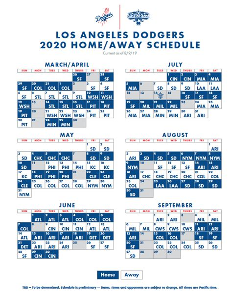 dodgers  schedule announced season starts  home