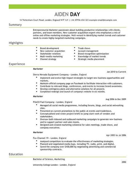 Marketing Cv by Marketing Cv Templates Cv Sles Exles