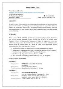 regulatory affairs resume sles prakash cv