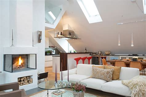 tasteful modern loft apartment  bright open plan