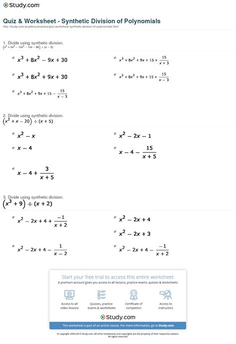 Quiz & Worksheet  Synthetic Division Of Polynomials Studycom