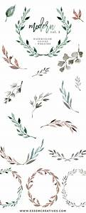 Watercolour Leaves Wreaths Clipart, Greenery Wedding ...