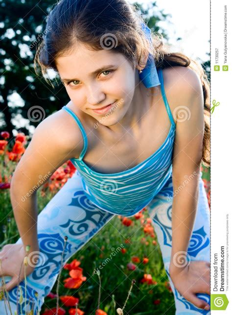 Portrait Teen Girl With Poppy Stock Image Image Of Flower Model 11730257