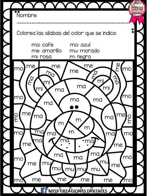 Colorea y descubre el dibujo con sílabas letras y números