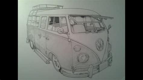 timelapse pencil sketch vw camper van youtube