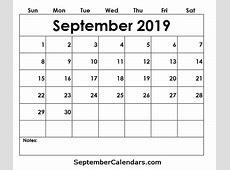 Free September 2019 Calendar Printable Template Holidays