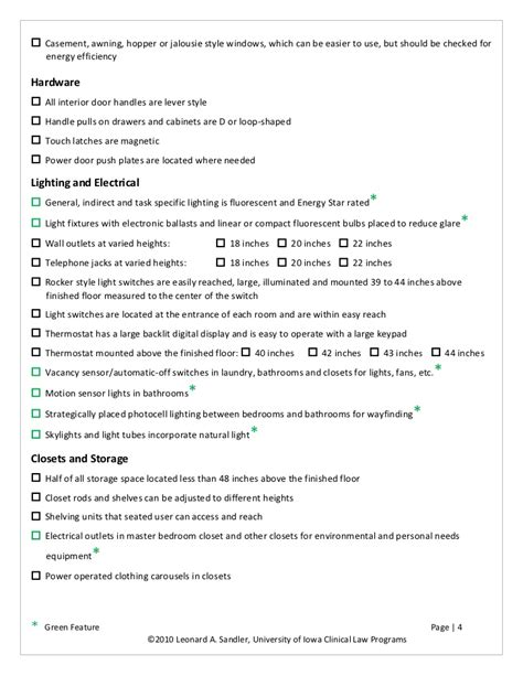home design checklist u of iowa universal design green home checklist