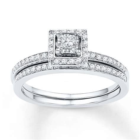 bridal set 1 4 ct tw princess cut 10k white gold