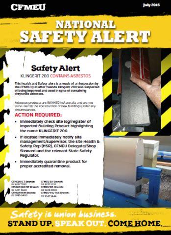 asbestos national alert klingerit  cfmeu nsw